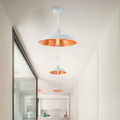 Loft ceiling lamp Bulb Attack Cinco Basic C1 with white/copper shade