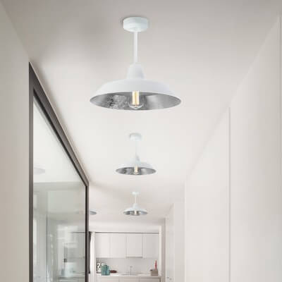 Ceiling lamp Bulb Attack Cinco C1 with white/silver shade and white finish