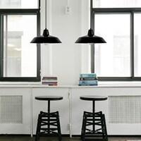 Bulb Attack Cinco black pendant lamp with black power cord
