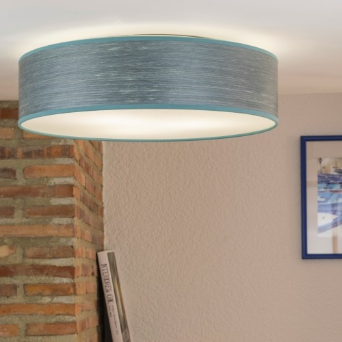 Natural wooden veneer ceiling lamp Bulb Attack Ocho blue