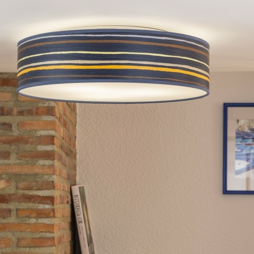Bulb Attack Ocho wooden ceiling lamp - blue stripped