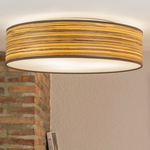 Natural wooden veneer ceiling lamp Bulb Attack Ocho 400mm - Zebrano