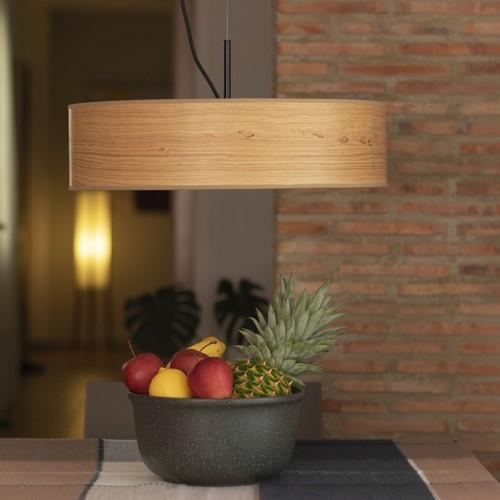 Wooden pendant lamp Bulb Attack Ocho Slim - Rustic oak