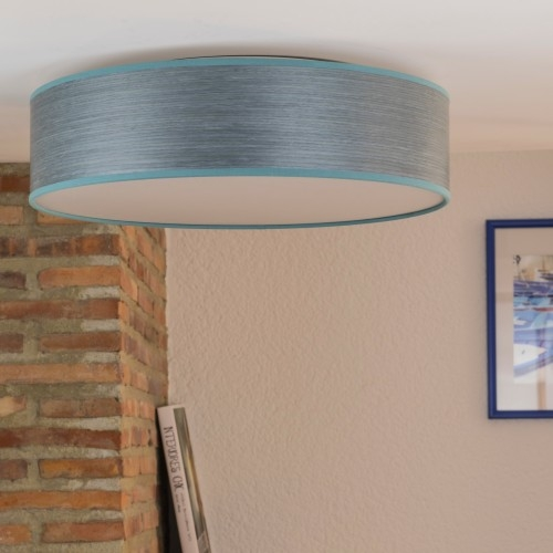 Blue ceiling lamp Bulb Attack Ocho 1C L - natural wood