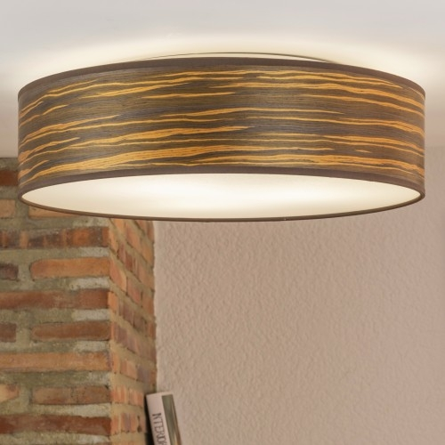 Ceiling lamp Bulb Attack Ocho made of natural wooden veneer - brown