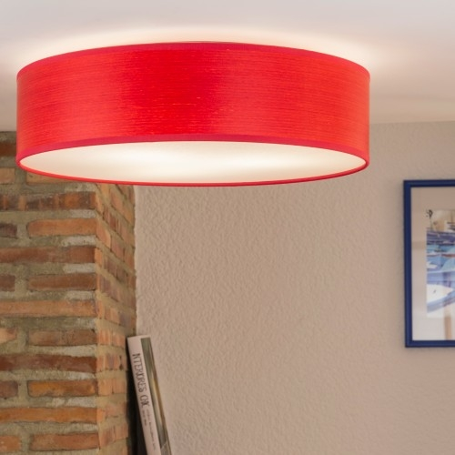 Bulb Attack Ocho L/C ceiling lamp made of natural wooden veneer - red