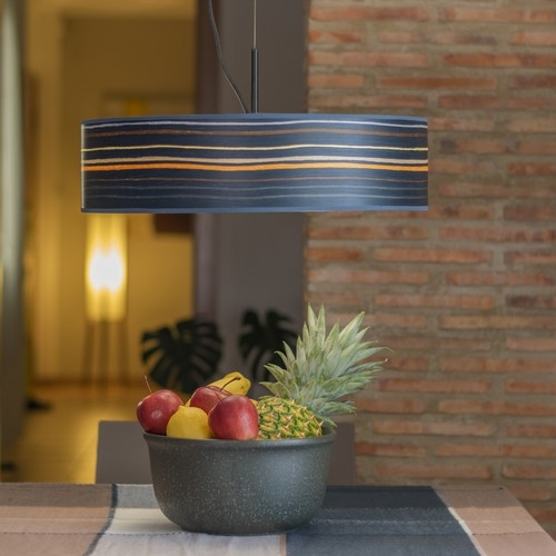 Bulb Attack Ocho Slim 1/S pendant lamp made of natural wooden veneer - Blue striped