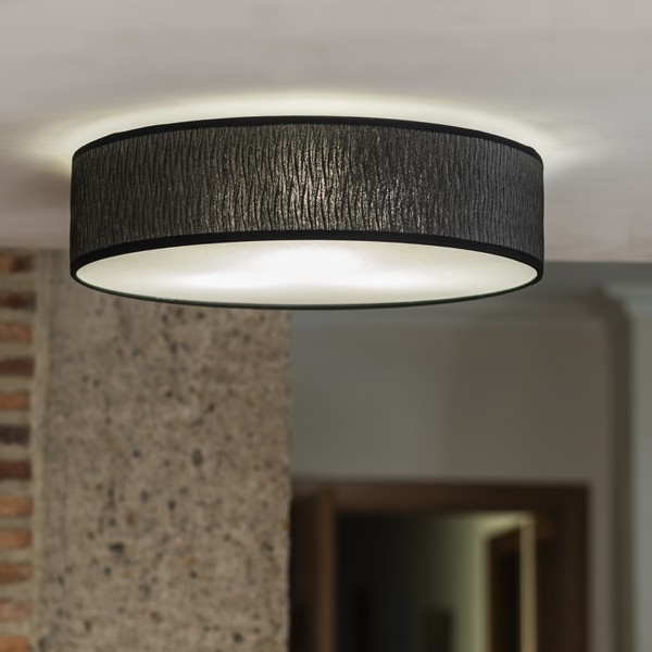 Drum ceiling lamp Bulb Attack Once black