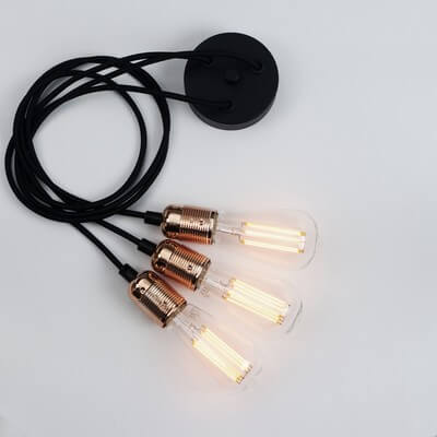 Bulb Attack Uno Basic S5 pendant lamp with copper lamp holder