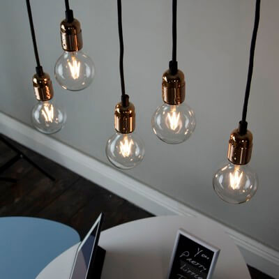 Pendant lamp Bulb Attack Uno Basic S5 with copper lamp holder and white decorative power cable