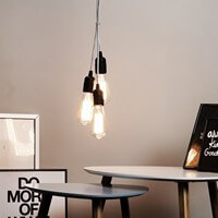 Simple pendant light Bulb Attack Uno with black lamp holder
