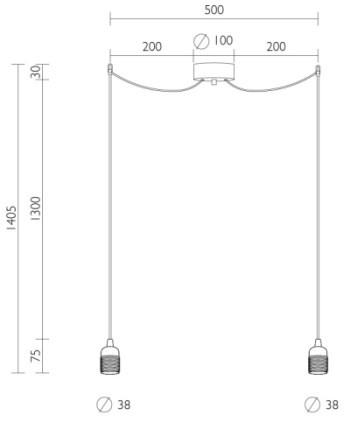 Doppelpendelleuchte Bulb Attack UNO S2 Dimensionen