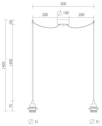 Doppelpendellampe Bulb Attack UNO Plus S2 Größe
