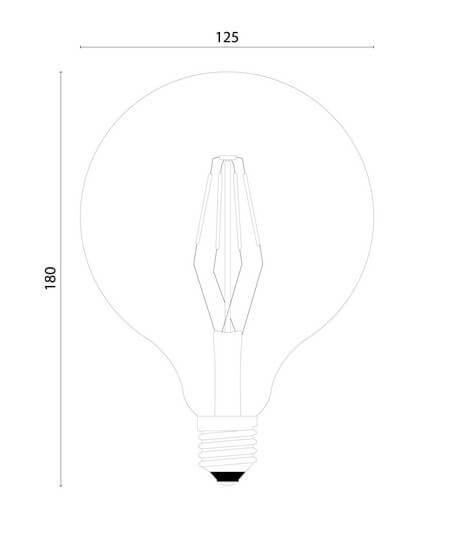 Dimensions of LED Big Bubble Light Bulb - Filament and Vintage LED light source