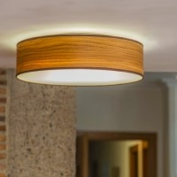 Oak ceiling lamp - Sotto Luce Tsuri with natural wooden veneer shade