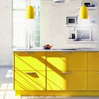 Sotto Luce Ume pendant light fitting with yellow lamp shade