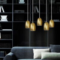 Gold pendant lamp Sotto Luce Ume 5/S with designer lamp shade