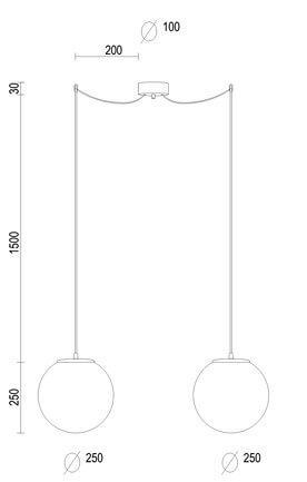 Dimensions of Sotto Luce Tsuki Elementary M 2/S pendant lamp