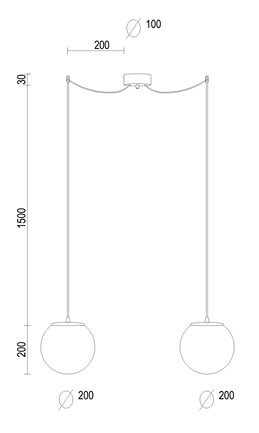 Dimensions of Sotto Luce Tsuki Elementary S 2/S pendant lamp