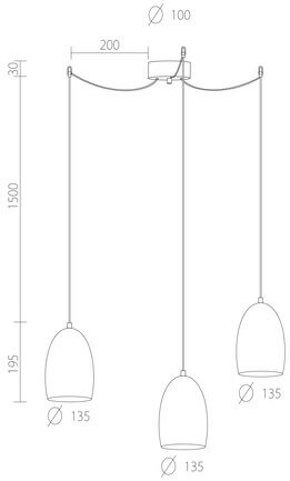 Dimensions of Sotto Luce Ume Elementary 3/S hanging lamp